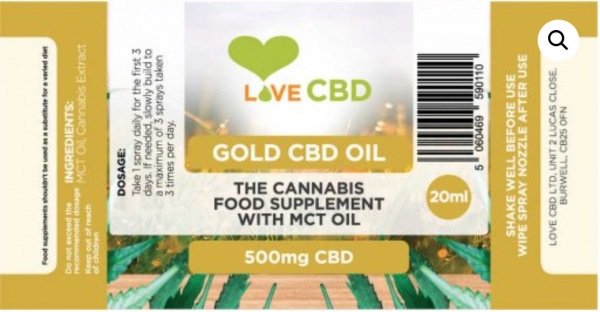 GOLD cbd oil label 500